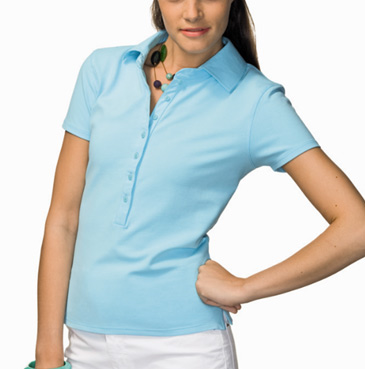 7 button pique polo for women